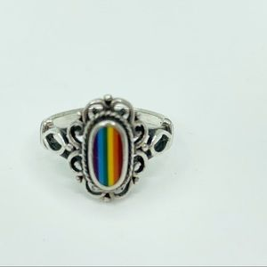 Vintage Rainbow Ring Sterling Silver Size 5